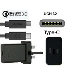 Genuine Sony UCH32 USB-C Ultra Fast 3A 18W Charger & UCB24 Type-C Cable - Black