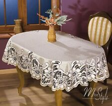 "Thick Quality Lace Tablecloth Natural Golden beige Oval 51"" x 67"" (130 x 170cm)"