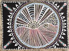 SEArts Sunbeam ACEO ORIGINAL Pink Gold Blue White Black Sun Rays Mandala Beams