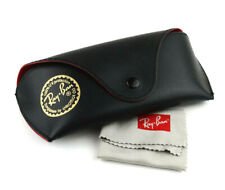 VTG Ray Ban Glasses Sunglasses Black Cover Case Red Inside with Cleaning Cloth