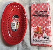 4 Deli Basket & 15 Wax Liners BBQ Sandwich Burger Hot Dog Picnic Food Cater