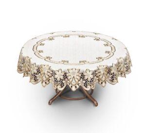 "Tablecloth round lace cream/dark gold Ø140 cm (55"") fantastic Xmas gift/present"
