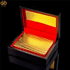 24k Gold Foil Mosaic Casino Gold Deck of Playing Poker Cards In Black Wooden Box