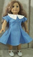 """Doll Clothes Made 2 Fit American Girl 18"""" inch Dress Collar Blue White Check"""