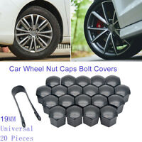 20X 19mm Black CAR WHEEL NUT BOLT COVERS CAPS UNIVERSAL FOR BMW VW Audi Polo