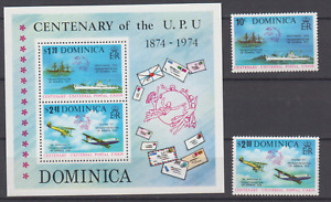 DOMINICA 1974 UPU CENTENARY COMPLETE SET & MINATURE SHEET MINT NEVER HINGED
