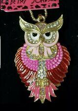Animal Pendant Betsey Johnson China Necklace Hot Red Enamel Cute Owl Crystal