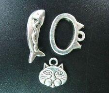 10 Sets Tibetan Silver Cat Fish Toggle Clasps R5053