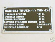 JEEP FORD  DASHBOARD vehicle truck PLAQUE DATA PLATE