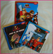 DISNEY THE INCREDIBLES BOOKS - Set of 3 - 23cm Kids HARDCOVER STORYTIME BOOK New