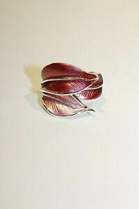 Ring elegant NEU verstellbar One size Einheitsgröße Silber Blatt Rosa Pink