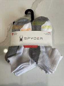 NEW  9 Pairs- Spyder Youth Boys Quarter Socks Size 7-10 color White & Gray
