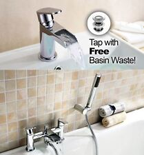 ZODIAC ROUND WATERFALL BATHROOM BASIN SINK AND SHOWER MIXER TAP *FREE WASTE*