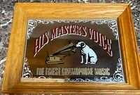 RCA Victor His Master's Voice Nipper Dog Vintage Framed Advertising Mirror 9x13