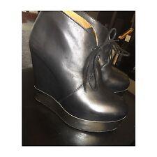 Acne Atacoma Black Metal Wedge Boots Sz 38