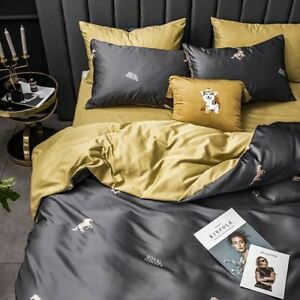 Luxury 100% Ice Silk 4PCS Bedding Set Chinese Silk Duvet Cover Set Bed Cover