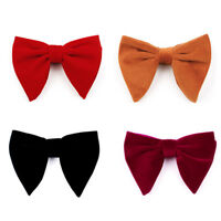 Men Solid Color Velvet Oversized Bowtie Wedding Party Tuxedo Business Bow Tie
