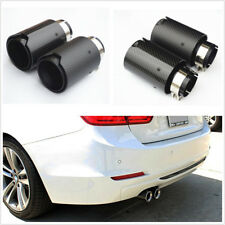 2Pcs Black Steel+Glossy Carbon Fiber Car Exhaust Muffler Tip Pipe w/M Logo 2.5''
