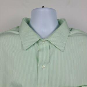 Brooks Brothers Non Iron Green White Striped Mens Dress Shirt Size 19 36/37