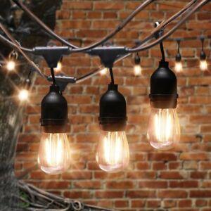 15LED Bulbs Solar Power/Plug 48FT Festoon String Lights Wedding Party Waterproof