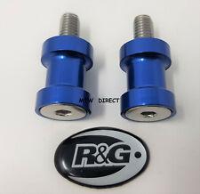 R&G RACING PAIR M8 BLUE PADDOCK STAND BOBBINS Suzuki GSXR750 SRAD 1996-2000