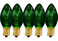 C-7 GREEN CLEAR STEADY BULBS - BRAND NEW 1 BOX OF 25 C7 GREEN STEADY BULBS 5W