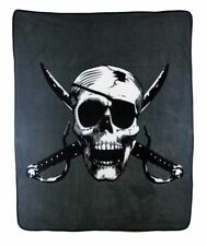 Pirate Skull Cross Swords Grey Gray 50x60 Polar Fleece Blanket Throw Plush Soft