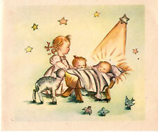 Vintage Rynart Christmas Card: CHILDREN WITH LAMB AROUND THE MANGER
