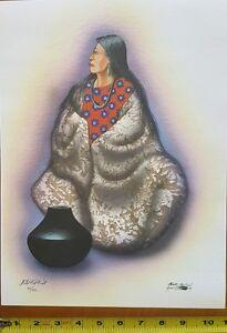 Redbird Robert Sr Ltd Edit Print Native American Kiowa Indian Pottery Lady