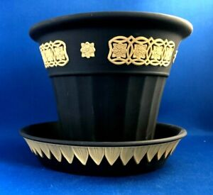 VINTAGE WEDGWOOD BLACK JASPERWARE  & CANE PLANTER & TRAY  THE LIBRARY COLLECTION