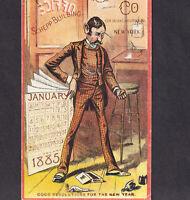 Shepp Building NYC Crump Lithographer 1885 Calendar Jan. Resolutions Trade Card
