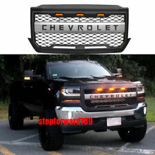 Grill Fit For 2016-2018 Chevrolet  Silverado 1500 Black Grille 3 LED w/ Letters