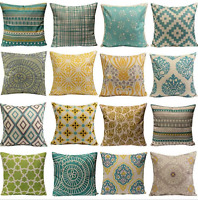 Cushion Cover Pillow Case Home Sofa Decor Linen Geometric Flower Set Hot Vintage