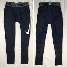 NIKE PRO COMBAT blue black striped compression pants MENS XL swoosh