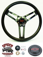 """1960-1969 Chevy CK pickup steering wheel Red Bowtie 14 1/2"""" Shallow Dish"""