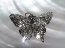 – 1.25 x 1.5 inches includ Estate Lacey Etched Silvertone Butterfly Moth Pendant