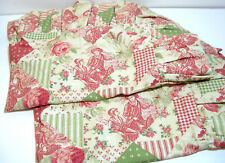 Toile Floral Patchwork Print Standard Pillow Shams With Ruffles Dunroven House