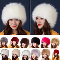 Women Faux Fur Hat Russian Autumn Winter Ear Warm Cap Ushanka Cossack Ski Beanie