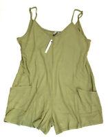 ASOS DESIGN Women's Jersey Minimal Playsuit w/ Pockets, Washed Stone, US Size 6