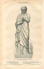 Sculpture d'Agrippine Urne funéraire de Germanicus de Maillet GRAVURE PRINT 1861