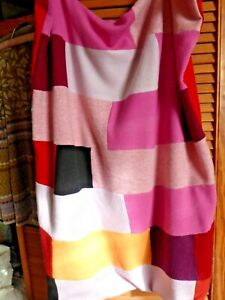 Soft Upcycled Patchwork Cosy Cashmere Knee Blanket Throw reds pinks orange