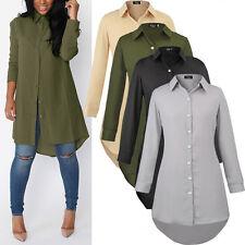 Neu Damen Longshirt Hemd Bluse Shirts Oberteile Langarm Tunika Hemdkleid Kleider