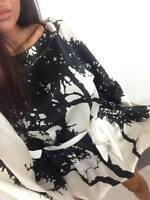 AUSTRALIAN DESIGNER Black Tree Ink Print Silk Kimono Top Ladies Kaftan S/10