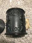 Antique Cast Iron Humidor Tobacco Jar Sweden 1800 Inter Bibendum Large Fumandum