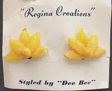 "Vintage Earrings - Yellow ""Regina Creations"" Flower Clip on Earrings"