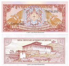 Bhutan 5 Ngultrum 1985 P-14a First Prefix C/1 Banknotes  UNC