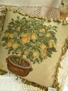 "16"" Handmade Artistic Elegant Vintage Country Lemon Bonsai Needlepoint Pillow"