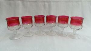 RETRO VINTAGE KINGS CROWN CRANBERRY THUMBPRINT WINE GLASSES X 6 TIFFIN GLASS CO