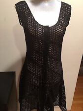NEW Sonia Rykiel Paris Cut Out Lace Black dress Sleeveless Dress Size  M