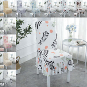 Stretch Dining Chair Seat Cover Floral Slipcover Wedding Banquet Home Decoration